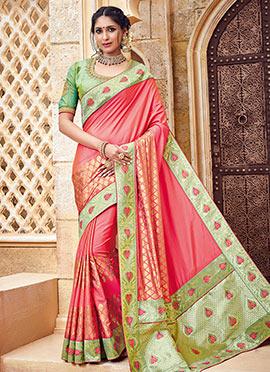 Pink Pure Benarasi Silk Saree