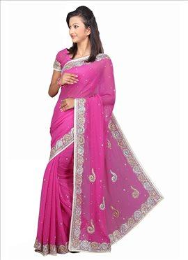 Pink Pure Chiffon Saree
