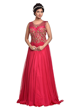 Pink Pure Georgette Indowestern Gown