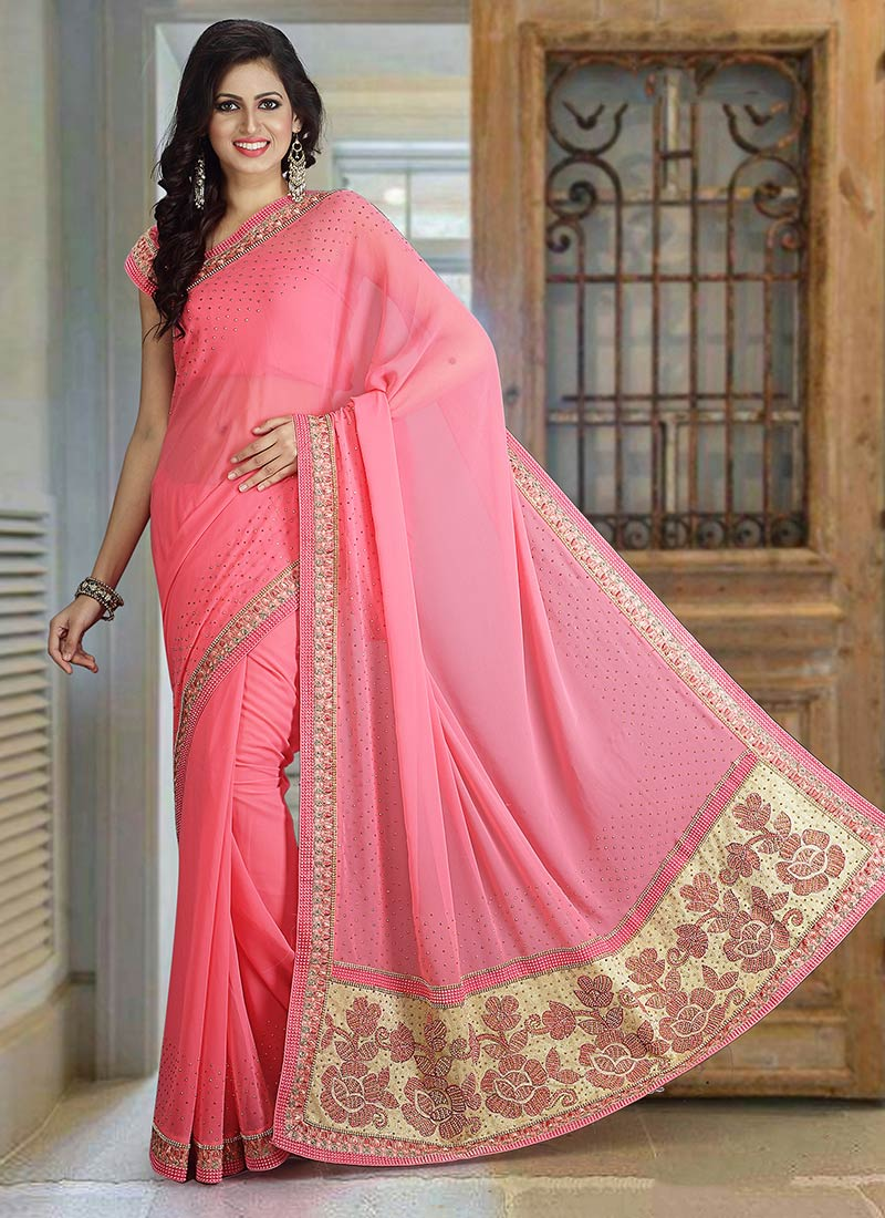 2a5584b0a Buy Pink Pure Georgette Saree