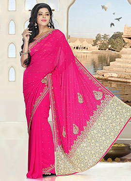 Pink Pure Georgette Saree