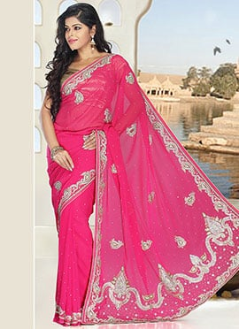 Pink Pure Georgette Stones Work Saree