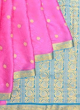 Pink Pure Handloom Mysore Silk Saree