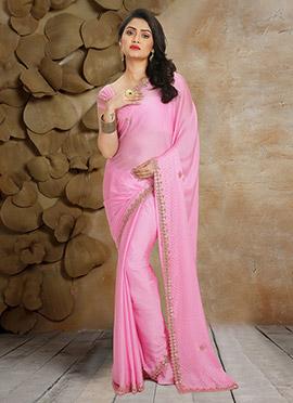 Pink Pure Satin Chiffon Saree