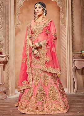 Pink Pure Silk A Line Lehenga