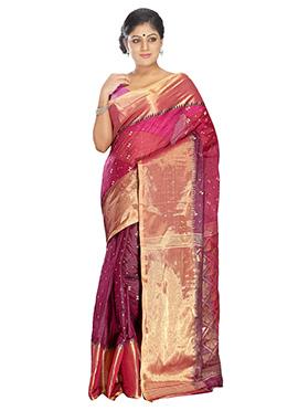 Pink Pure Silk Tangail Saree