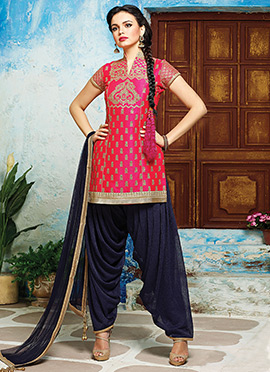 Pink Raw Silk Patiala Suit