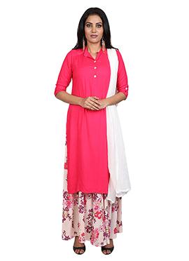 Pink Rayon Palazzo Suit