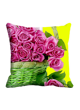 Pink Rose Basket Cushion Cover