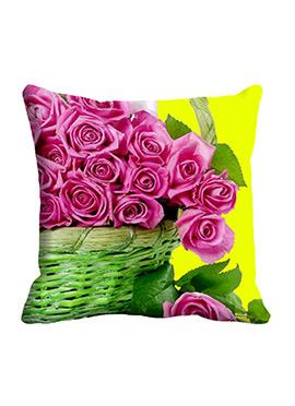 Pink Rose Basket Cushion Cover
