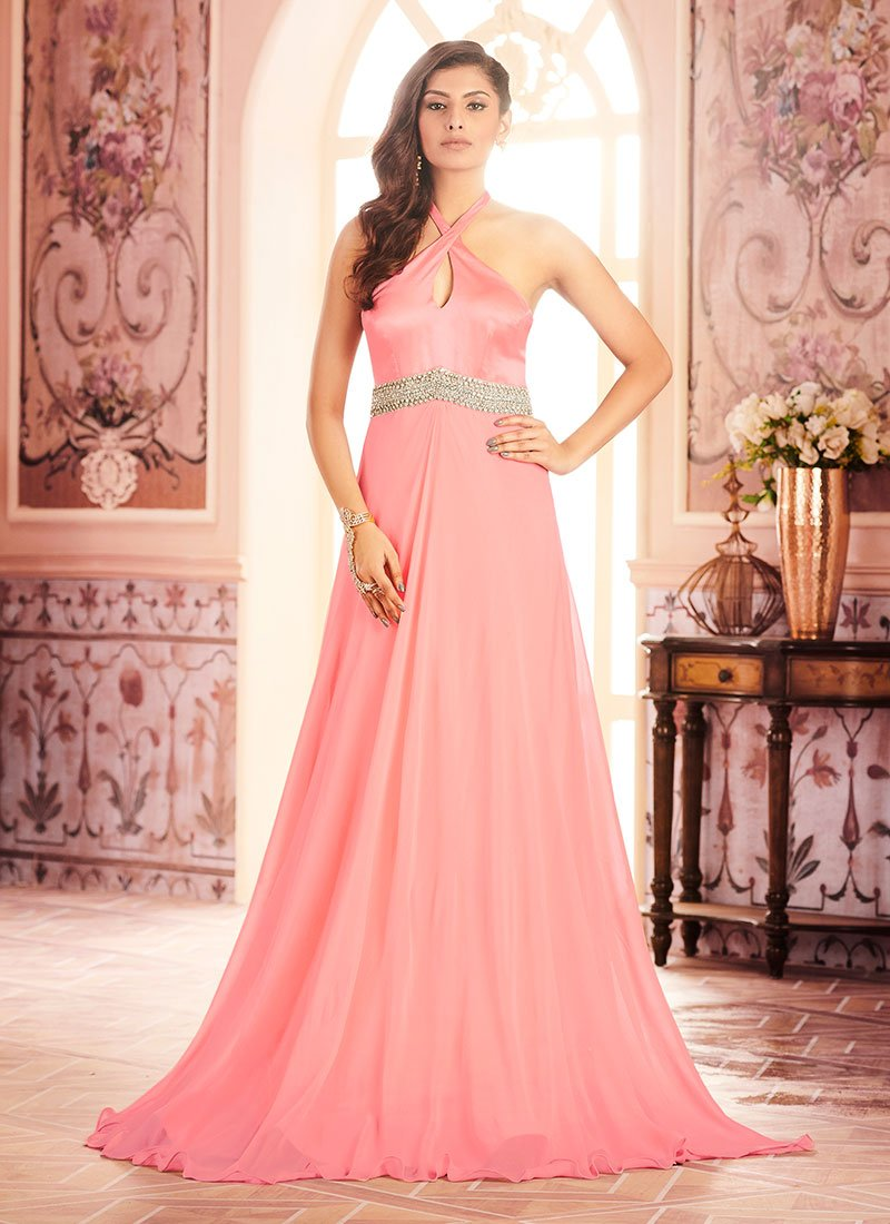 Buy Pink Satin Anarkali Gown Stones Embroidered Dresses And Gown