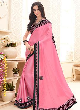 Pink Satin Chiffon Border Saree