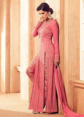 Pink Satin Georgette Straight Pant Suit