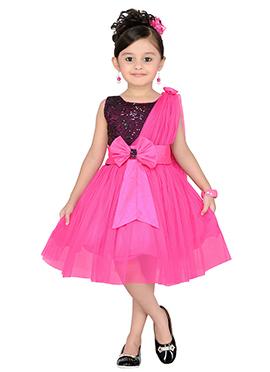 Pink Satin Net Kids Dress