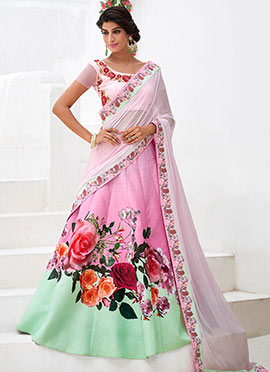 Pink Satin Silk A Line Lehenga