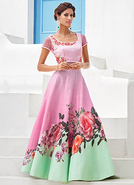 Pink Satin Silk Anarkali Anarkali Gown