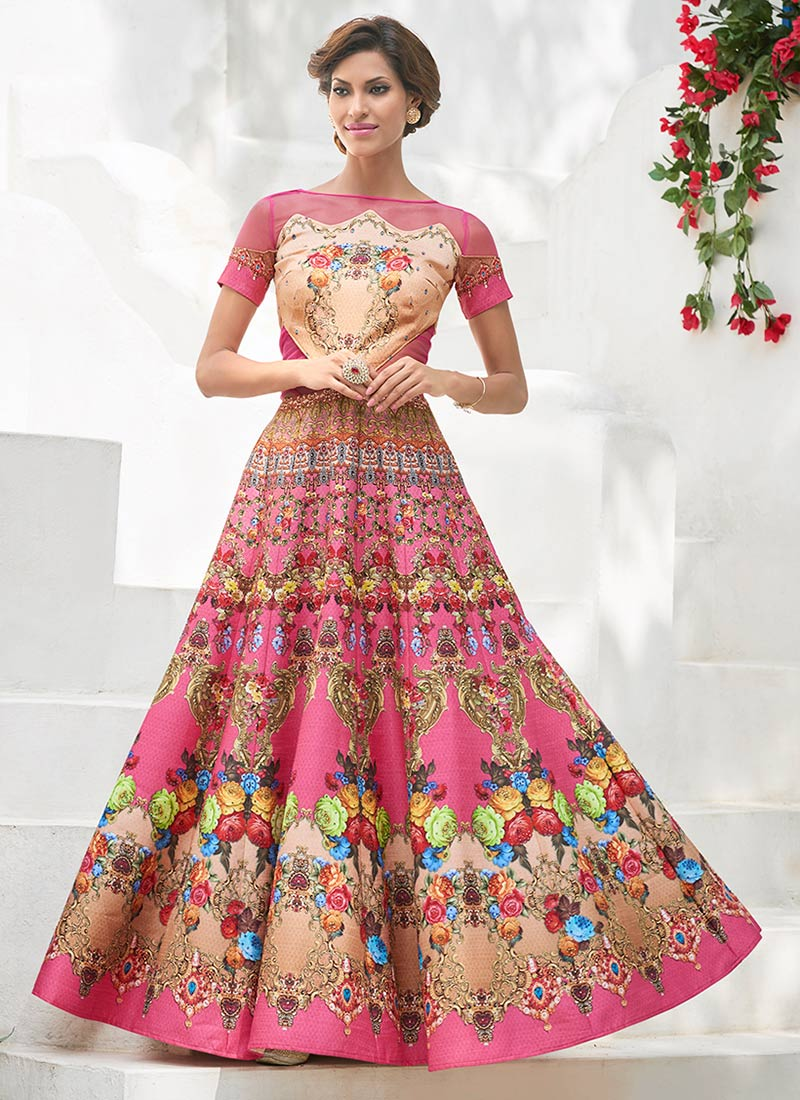 Buy Pink Satin Silk Anarkali Gown Printed Dresses And Gown Online