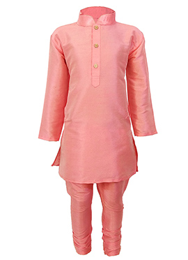 Pink Silk Cotton Kids Kurta Pyjama