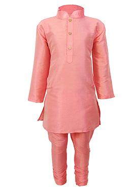 Pink Silk Cotton Teens Kurta Pyjama