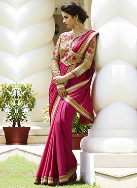Pink Silk Crepe Border Saree