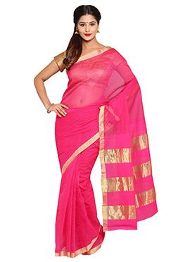 Pink Super Net Saree