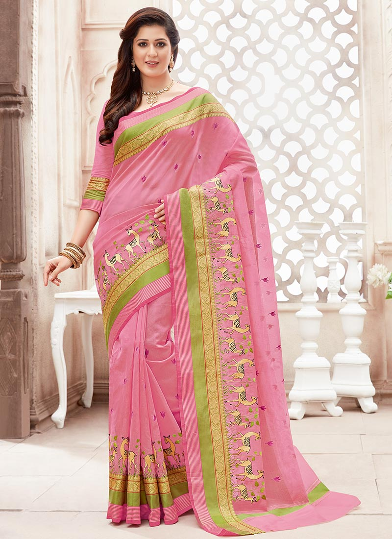 Pink Net Saree: Buy Pink Super Net Saree, Embroidered, Sari Online