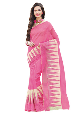 Pink Supernet Border Saree