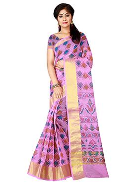 Pink Supernet Cotton Saree