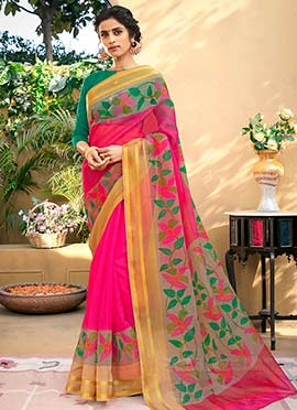 Pink Supernet Printed Saree