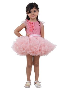 Pink Tafetta Net Kids Dress