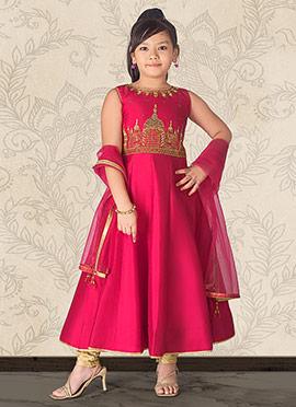 Pink Taffeta Anarkali Suit