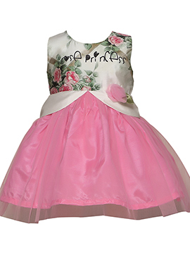 Pink Taffeta Net Kids Dress