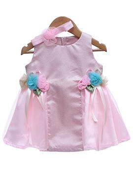 Pink Taffeta Silk Net Kids Dress