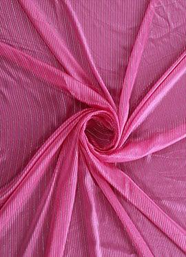 Pink Zari Work Satin Fabric