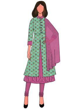 Pink Zari Work Satin Churidar Suit