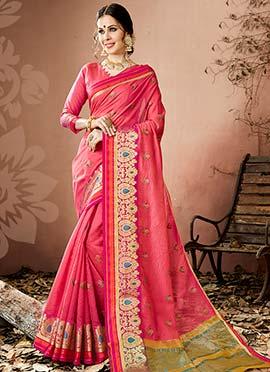 Pink Zari Woven Saree