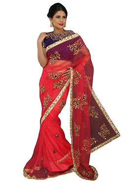 Pinkish Red Embellished Net Saree