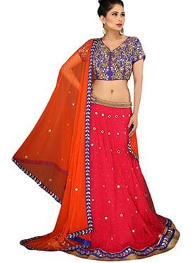 Pinkish Red Net A Line Lehenga Choli