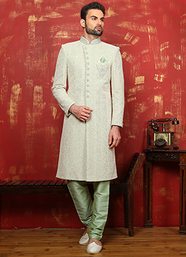 Pista Green Art Silk Achkan Sherwani