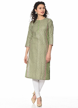 Pista Green Art Silk Cotton Kurti