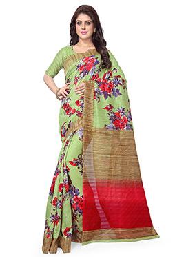 Pista Green Art Silk Saree