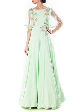 Pista Green Cape Gown