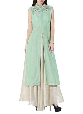 Pista Green Chanderi Skirt Set