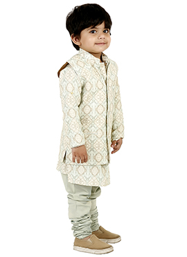 Pale Green Cotton Silk Kids Bandi Set