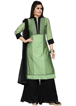 Pista Green Cotton Silk Palazzo Suit