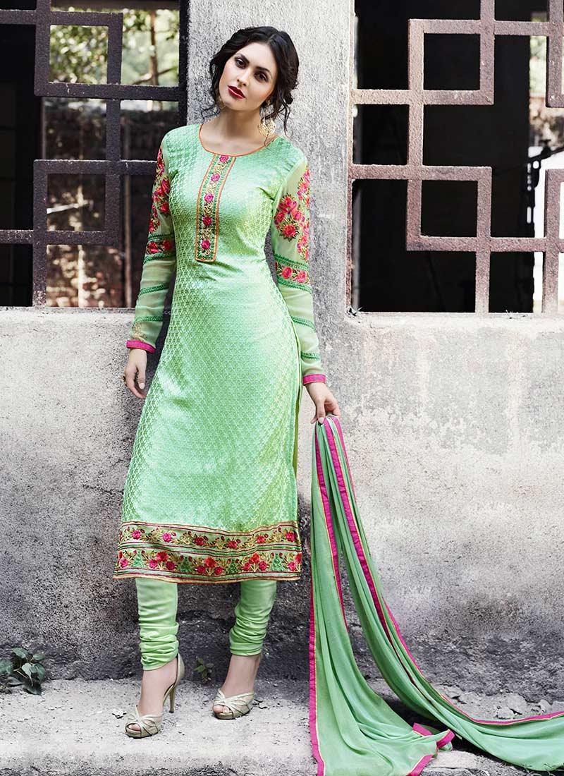 Buy Pista Green Georgette Brasso Churidar Suit Churidar