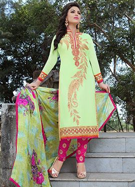 Pista Green Georgette Straight Pant Suit