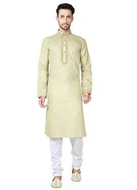 Pista Green Linen Cotton Kurta Pyjama