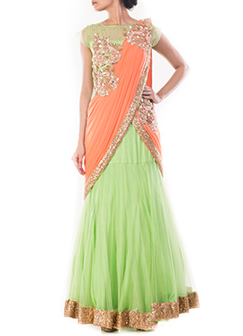 Pista Green N Orange Pure Silk Saree Gown