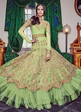 Pista Green Net Floor Length Anarkali Suit